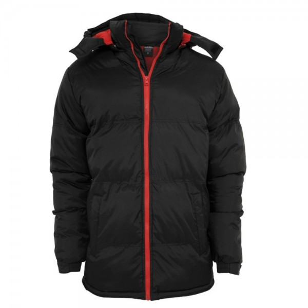 Urban Classics - Bubble Long Jacket [schwarz/rot] Gr. M
